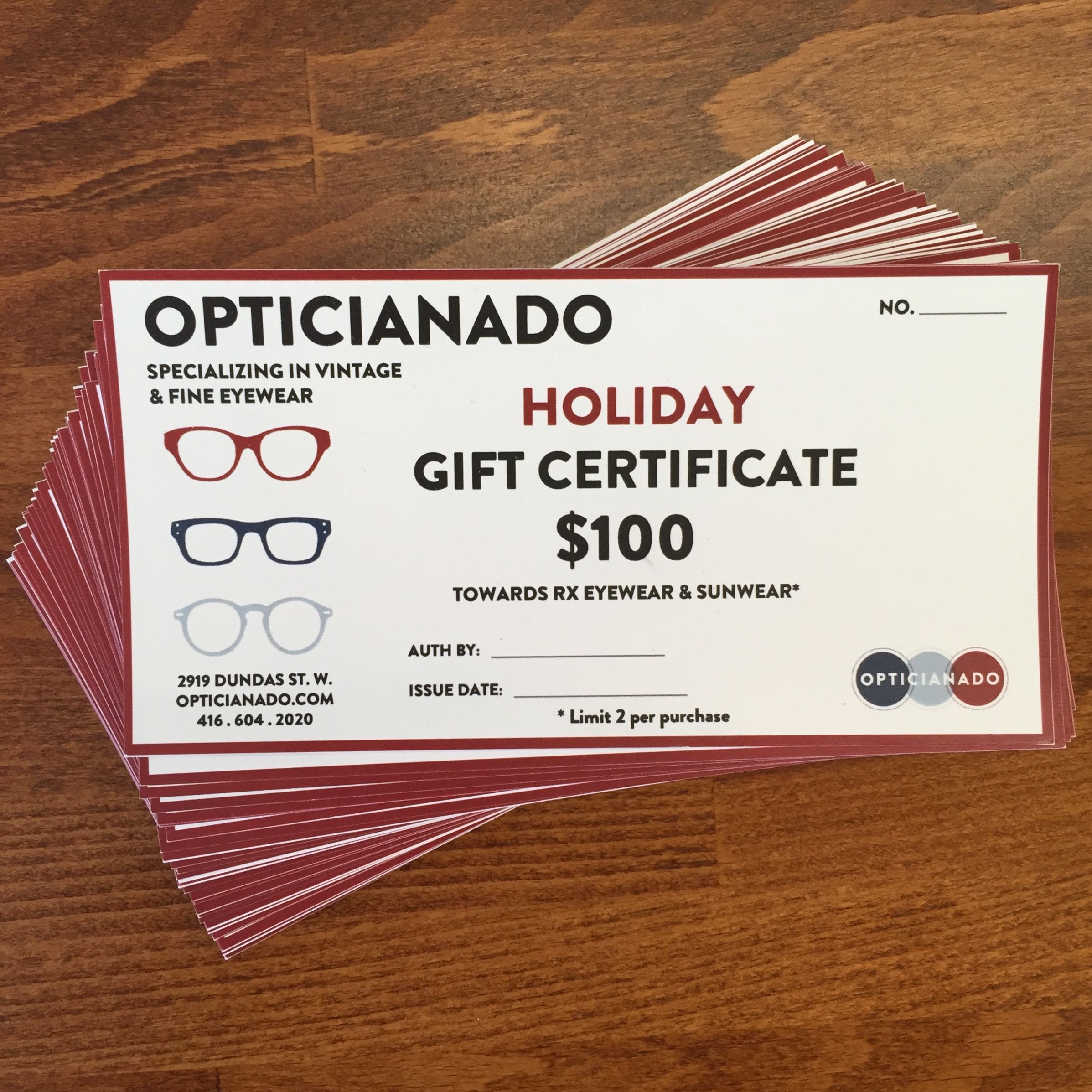 "cf51aa42cc Still looking for the perfect gift for all those ""four-eyes"" on your list   From now until December 31st receive a  100 gift certificate for only  75!"